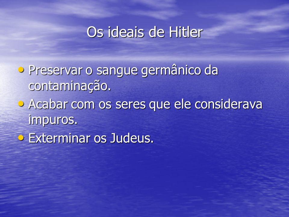Os ideais de Hitler Preservar o sangue germânico da contaminação.