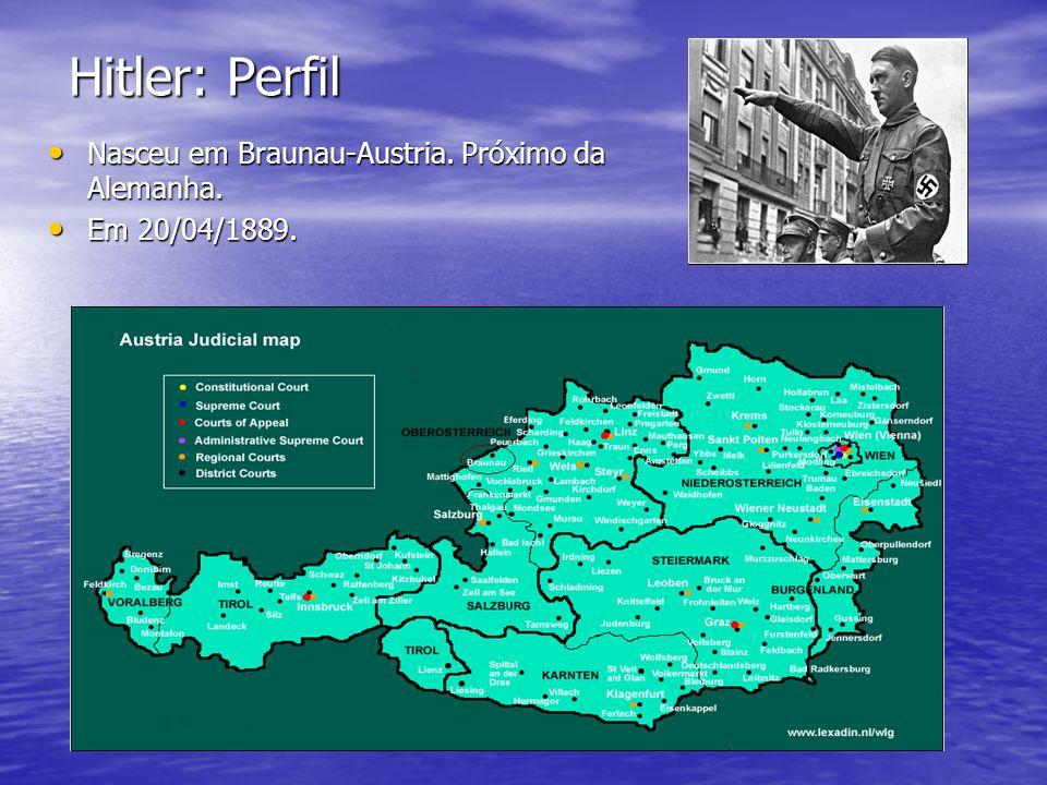 Hitler: Perfil Nasceu em Braunau-Austria. Próximo da Alemanha.