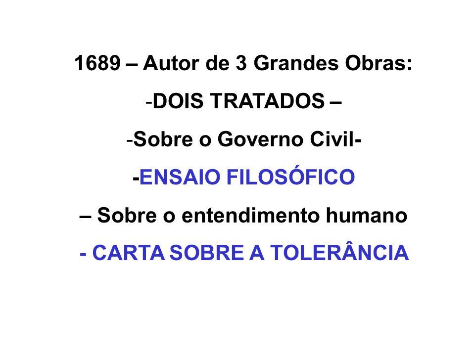 1689 – Autor de 3 Grandes Obras: DOIS TRATADOS –