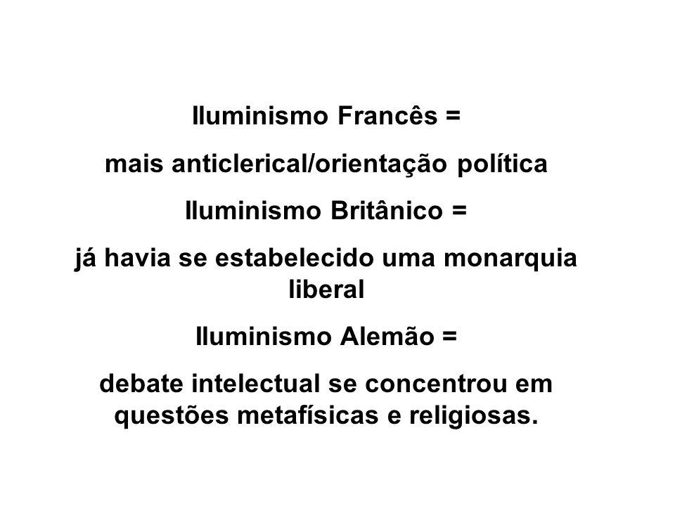 mais anticlerical/orientação política Iluminismo Britânico =