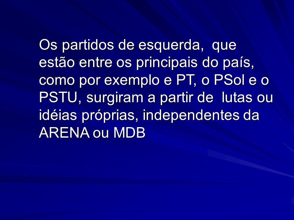 Os partidos de esquerda, que estão entre os principais do país, como por exemplo e PT, o PSol e o PSTU, surgiram a partir de lutas ou idéias próprias, independentes da ARENA ou MDB