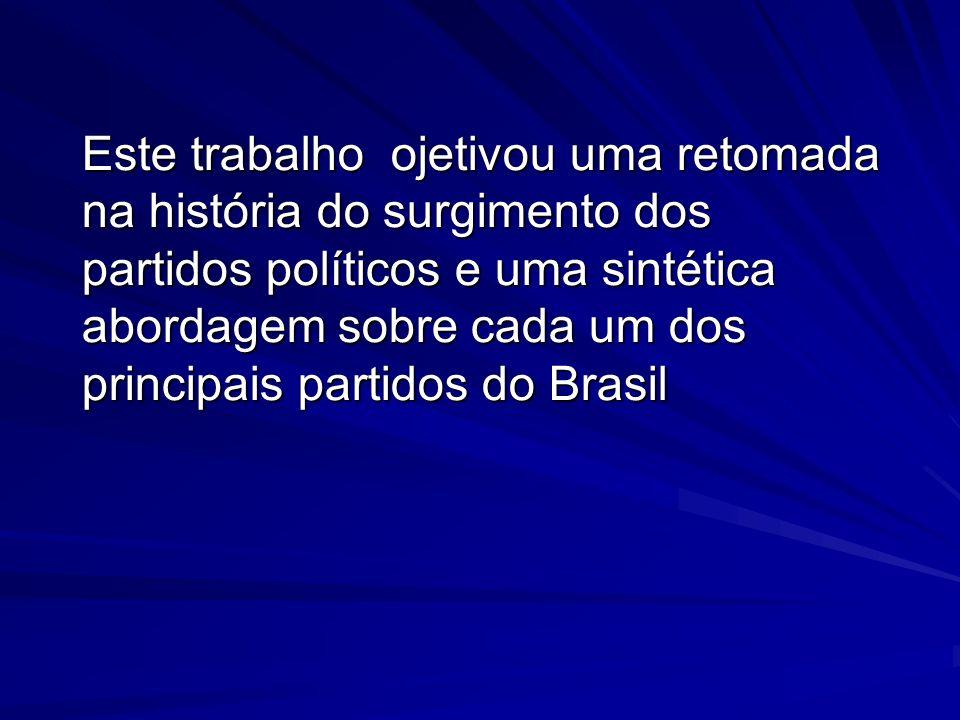 Este trabalho ojetivou uma retomada na história do surgimento dos partidos políticos e uma sintética abordagem sobre cada um dos principais partidos do Brasil
