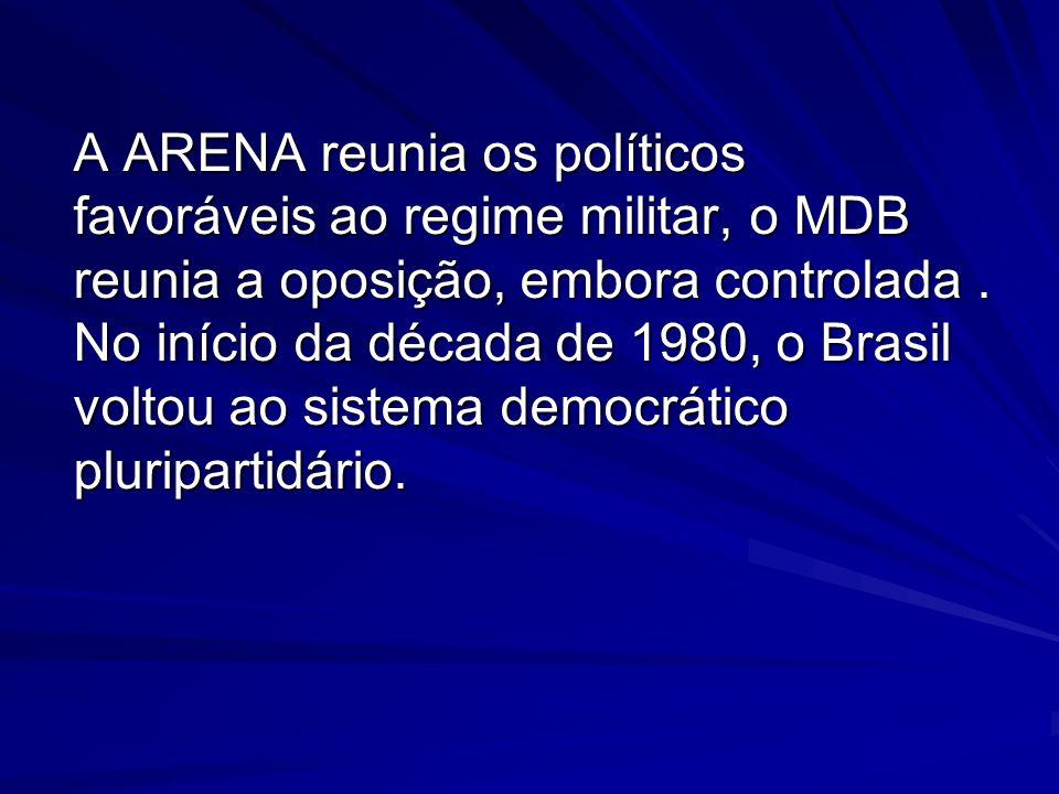 A ARENA reunia os políticos favoráveis ao regime militar, o MDB reunia a oposição, embora controlada .