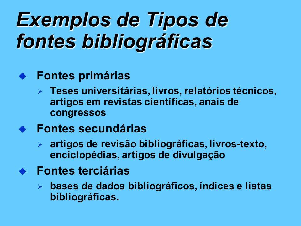 Exemplos de Tipos de fontes bibliográficas
