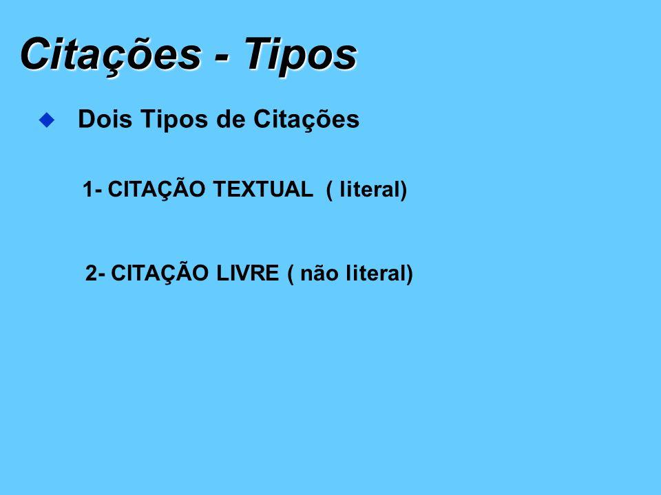 Citações - Tipos Dois Tipos de Citações 1- CITAÇÃO TEXTUAL ( literal)