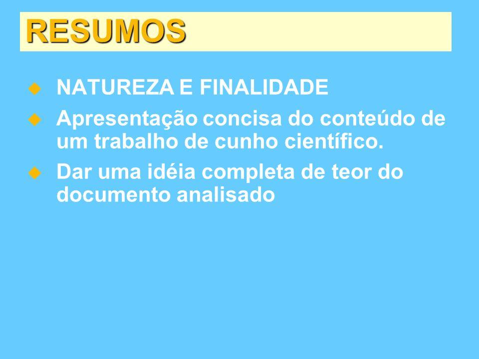 RESUMOS NATUREZA E FINALIDADE