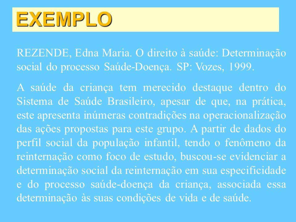 EXEMPLO REZENDE, Edna Maria. O direito à saúde: Determinação social do processo Saúde-Doença. SP: Vozes, 1999.
