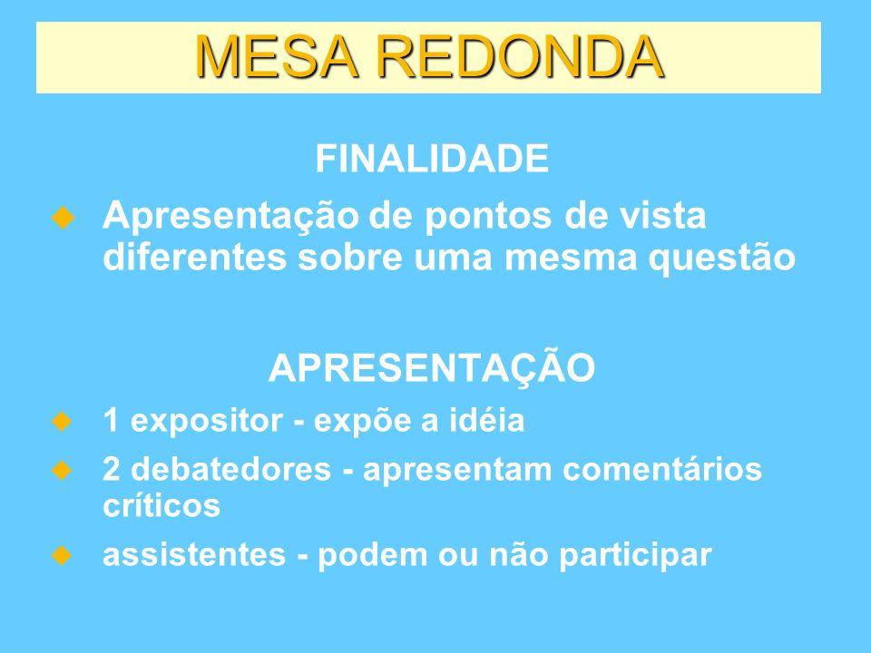 MESA REDONDA FINALIDADE