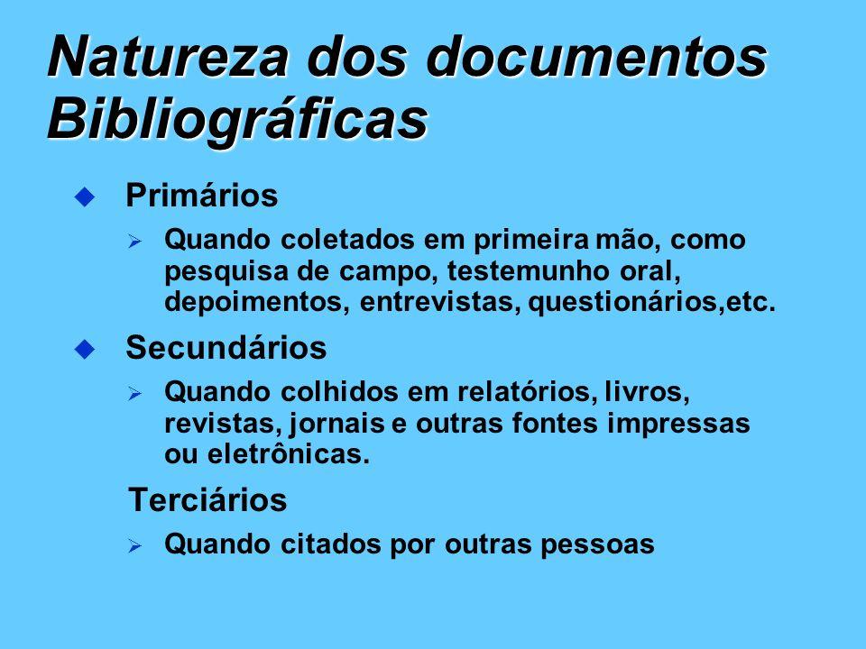Natureza dos documentos Bibliográficas