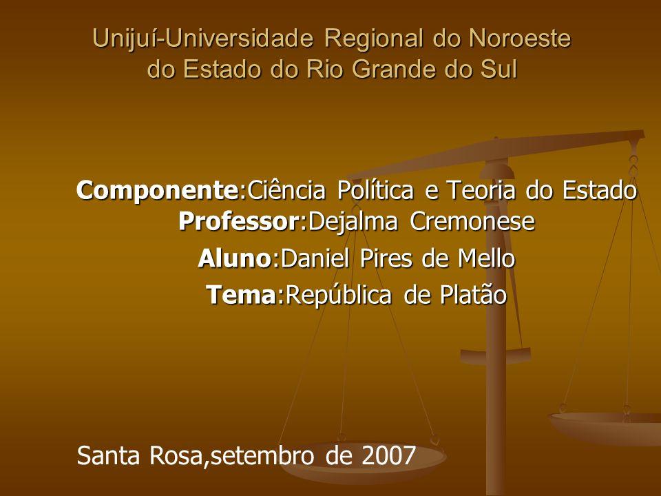 Aluno:Daniel Pires de Mello Tema:República de Platão