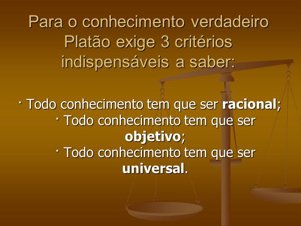 Para o conhecimento verdadeiro Platão exige 3 critérios indispensáveis a saber: