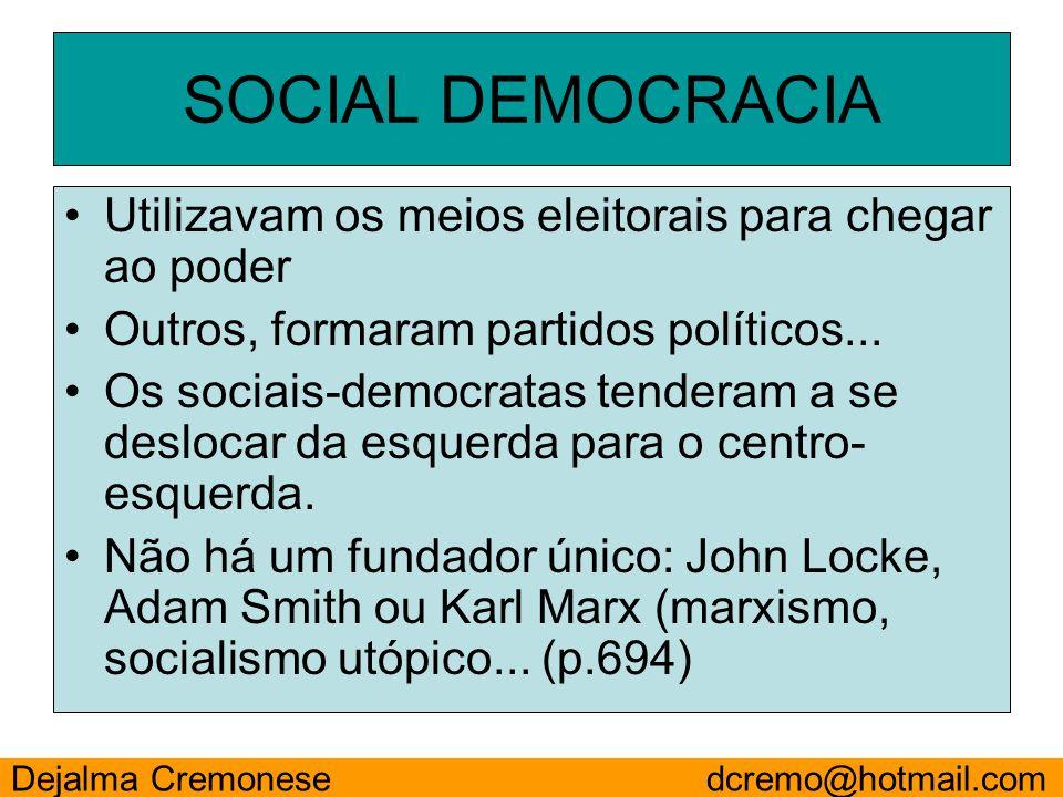 SOCIAL DEMOCRACIA Utilizavam os meios eleitorais para chegar ao poder