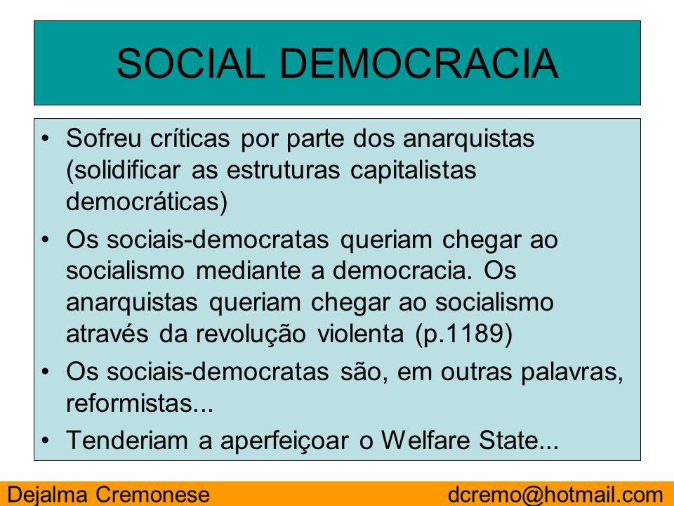 SOCIAL DEMOCRACIA Sofreu críticas por parte dos anarquistas (solidificar as estruturas capitalistas democráticas)