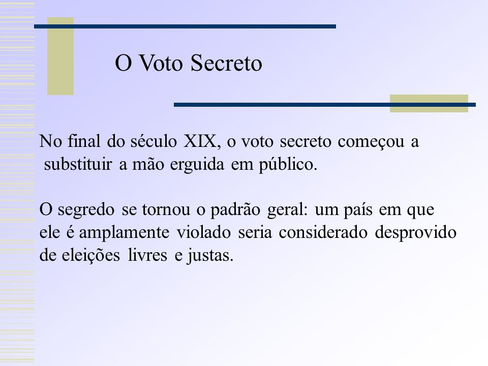 O Voto Secreto No final do século XIX, o voto secreto começou a