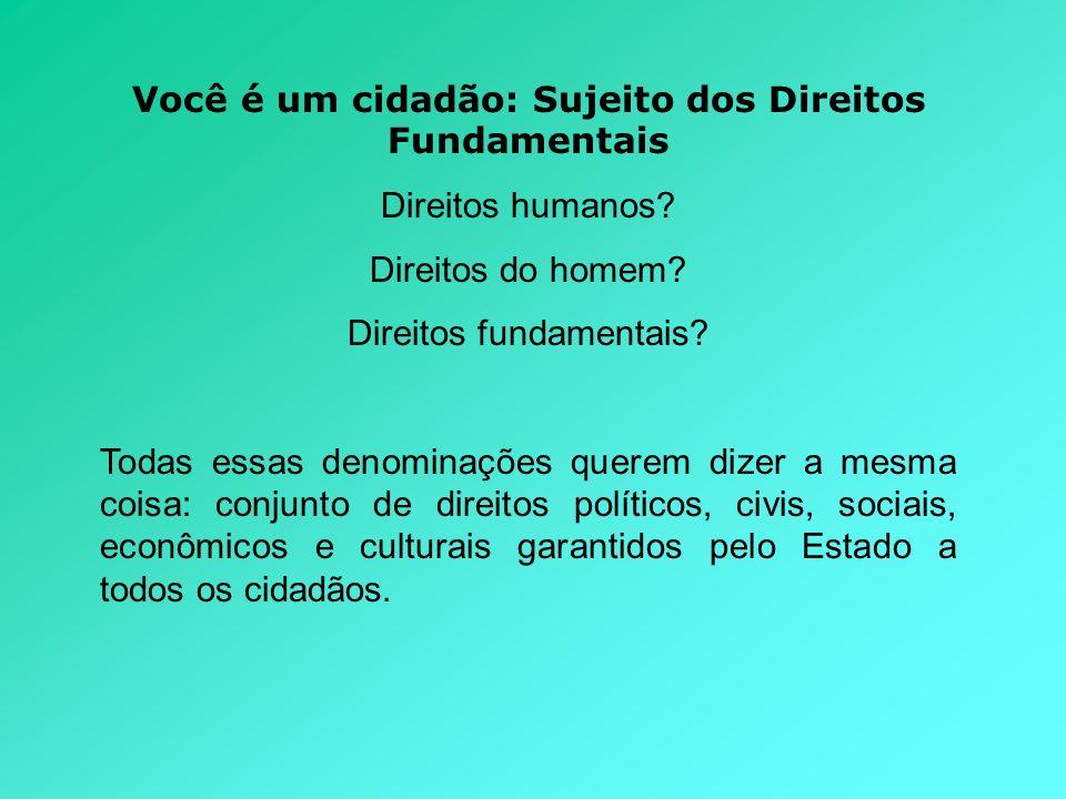 Você é um cidadão: Sujeito dos Direitos Fundamentais Direitos humanos