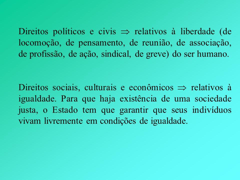 Direitos políticos e civis  relativos à liberdade (de locomoção, de pensamento, de reunião, de associação, de profissão, de ação, sindical, de greve) do ser humano.