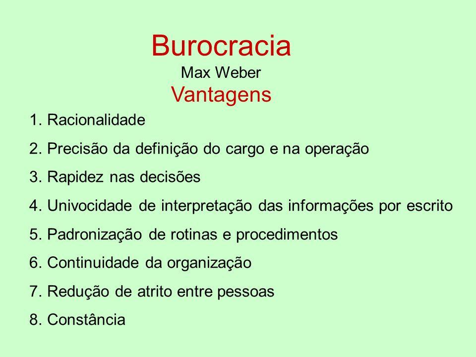 Burocracia Vantagens Max Weber Racionalidade