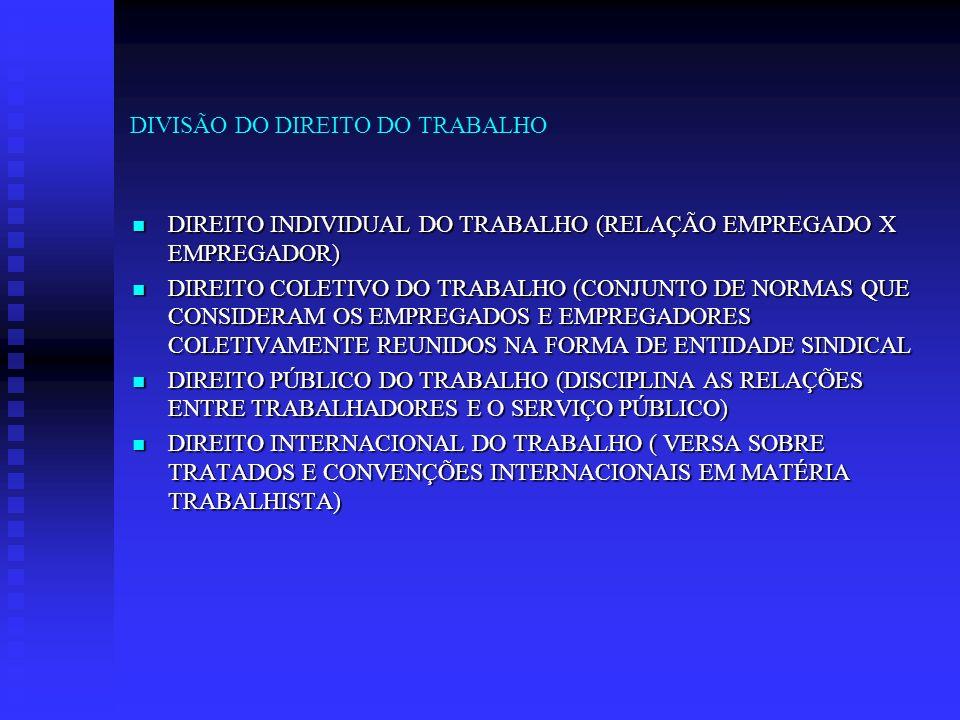 DIVISÃO DO DIREITO DO TRABALHO