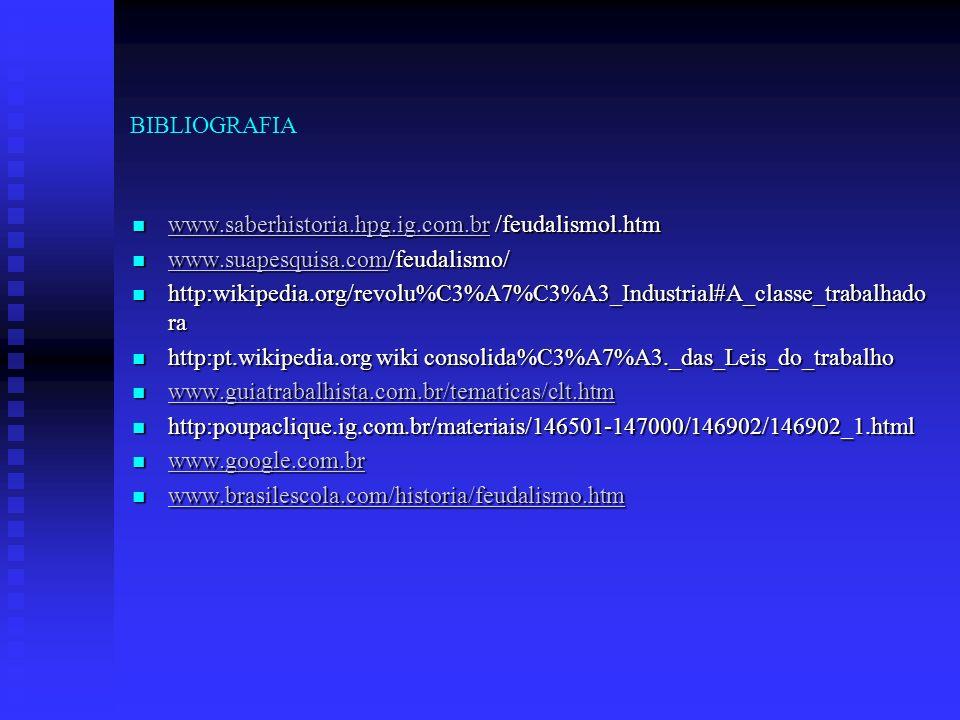 BIBLIOGRAFIA www.saberhistoria.hpg.ig.com.br /feudalismol.htm. www.suapesquisa.com/feudalismo/