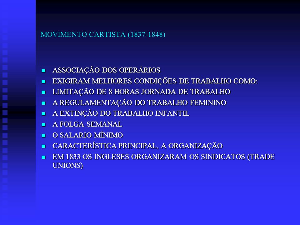 MOVIMENTO CARTISTA (1837-1848)