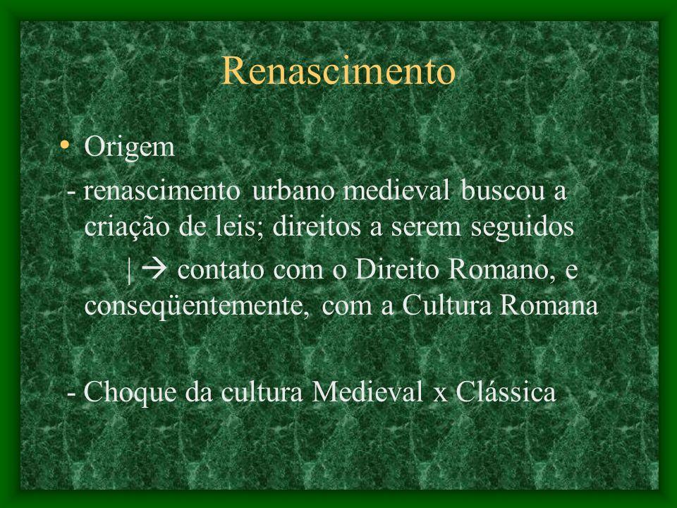Renascimento Origem. - renascimento urbano medieval buscou a criação de leis; direitos a serem seguidos.