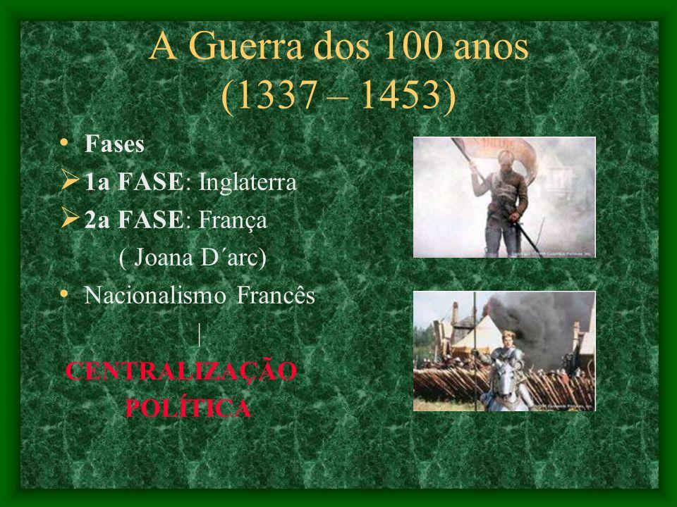 A Guerra dos 100 anos (1337 – 1453) Fases 1a FASE: Inglaterra
