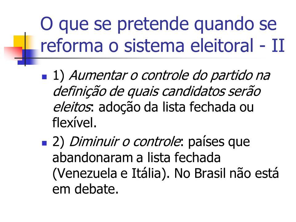 O que se pretende quando se reforma o sistema eleitoral - II