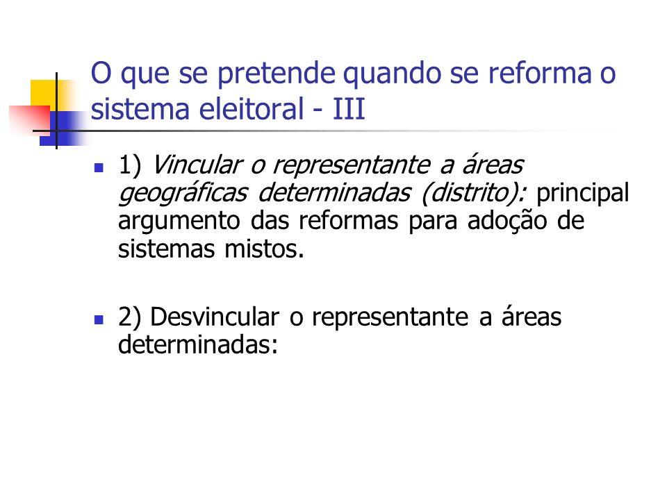 O que se pretende quando se reforma o sistema eleitoral - III