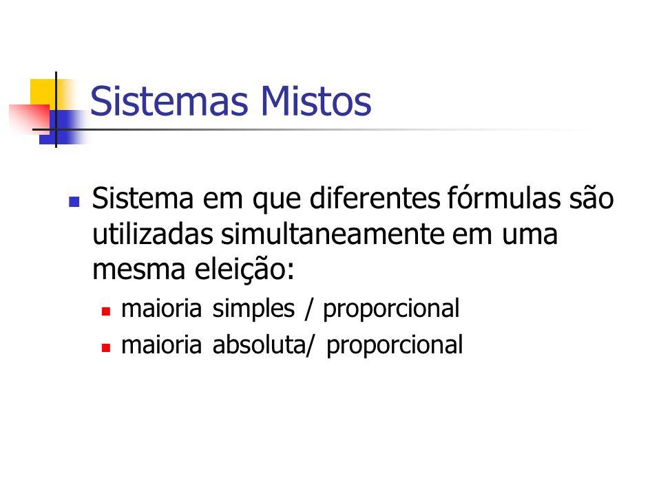 Sistemas Mistos Sistema em que diferentes fórmulas são utilizadas simultaneamente em uma mesma eleição: