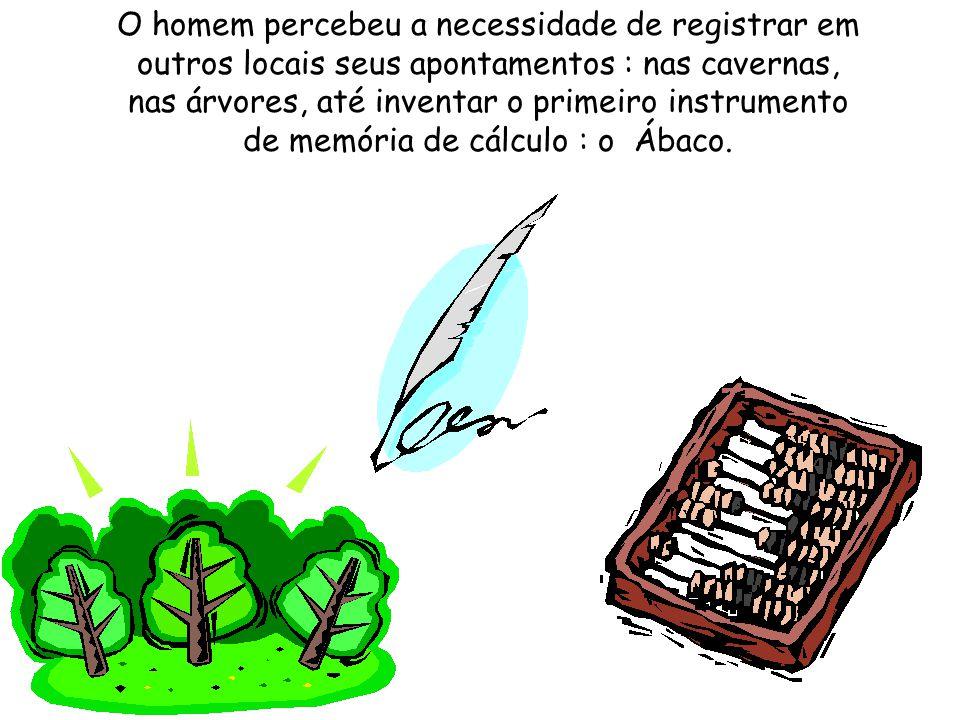 O homem percebeu a necessidade de registrar em outros locais seus apontamentos : nas cavernas, nas árvores, até inventar o primeiro instrumento de memória de cálculo : o Ábaco.