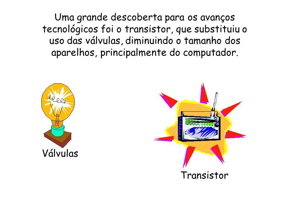 Uma grande descoberta para os avanços tecnológicos foi o transistor, que substituiu o uso das válvulas, diminuindo o tamanho dos aparelhos, principalmente do computador.
