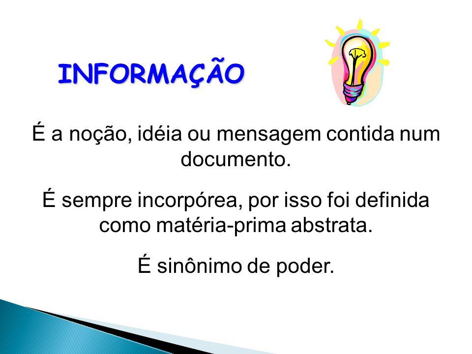 É a noção, idéia ou mensagem contida num documento.