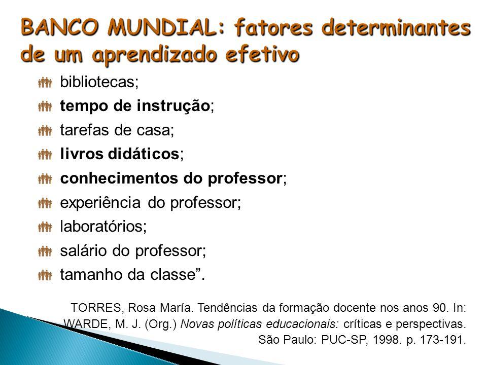 BANCO MUNDIAL: fatores determinantes de um aprendizado efetivo