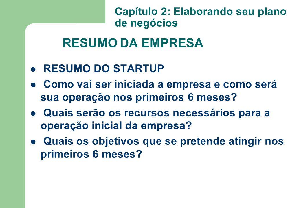 RESUMO DA EMPRESA Capítulo 2: Elaborando seu plano de negócios