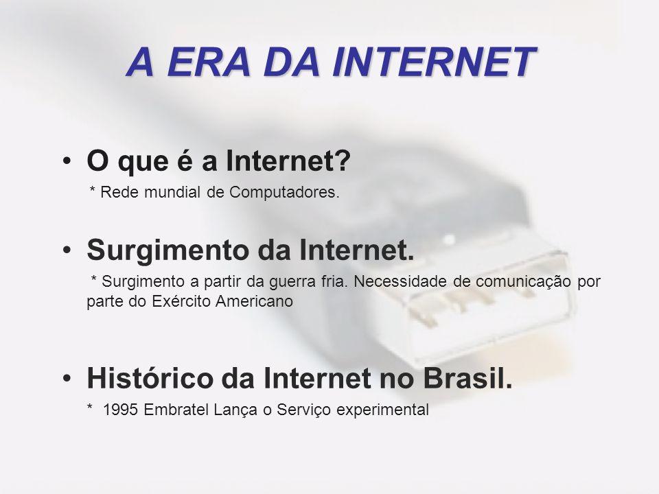 A ERA DA INTERNET O que é a Internet Surgimento da Internet.