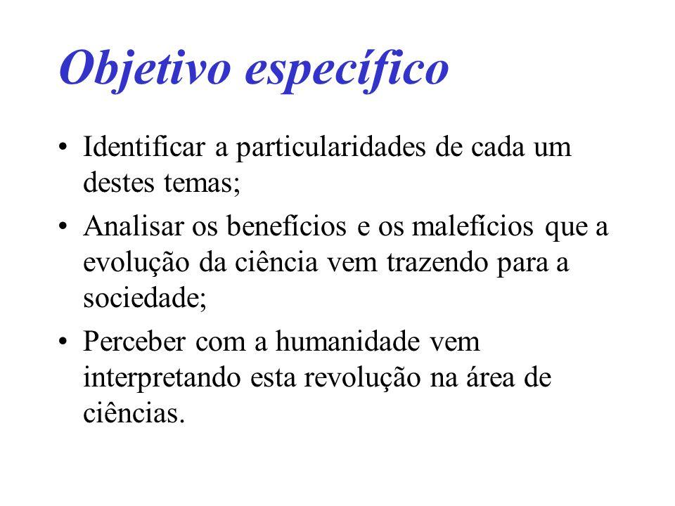 Objetivo específico Identificar a particularidades de cada um destes temas;