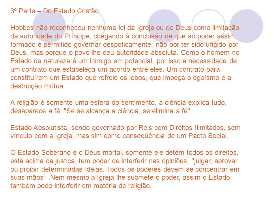 3º Parte – Do Estado Cristão.