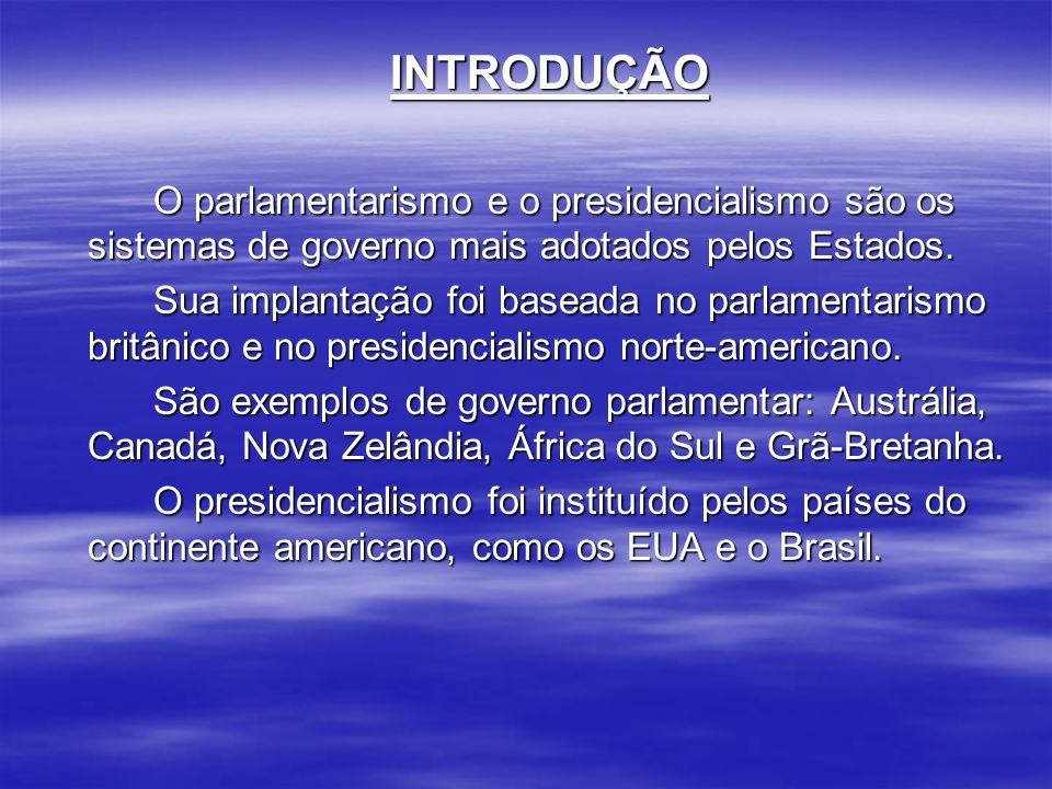 INTRODUÇÃO O parlamentarismo e o presidencialismo são os sistemas de governo mais adotados pelos Estados.