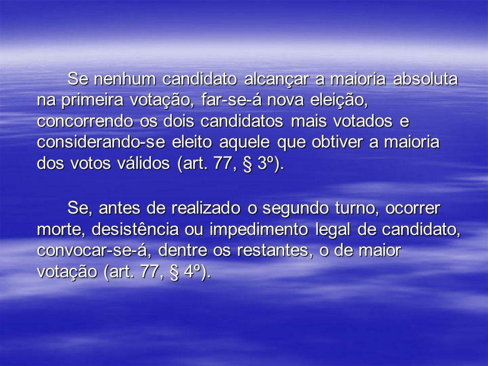 Se nenhum candidato alcançar a maioria absoluta na primeira votação, far-se-á nova eleição, concorrendo os dois candidatos mais votados e considerando-se eleito aquele que obtiver a maioria dos votos válidos (art. 77, § 3º).