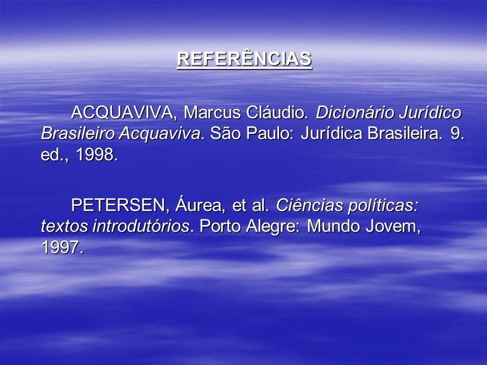 REFERÊNCIAS ACQUAVIVA, Marcus Cláudio. Dicionário Jurídico Brasileiro Acquaviva. São Paulo: Jurídica Brasileira. 9. ed., 1998.