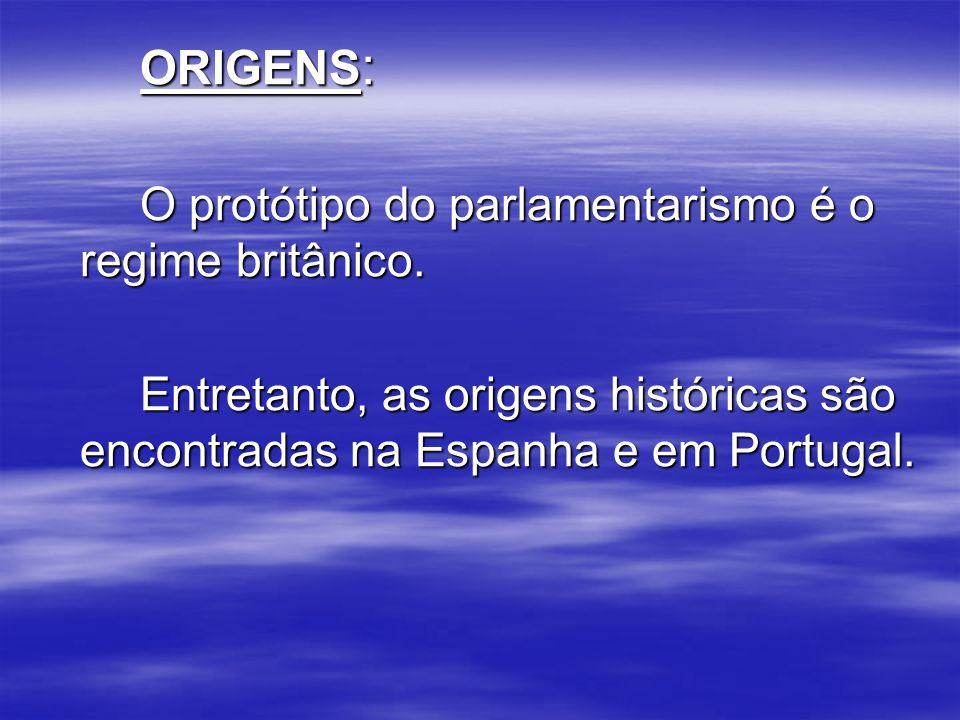 ORIGENS: O protótipo do parlamentarismo é o regime britânico.