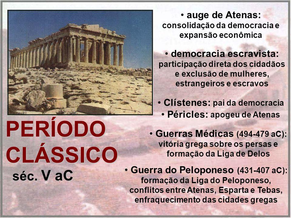PERÍODO CLÁSSICO séc. V aC auge de Atenas: