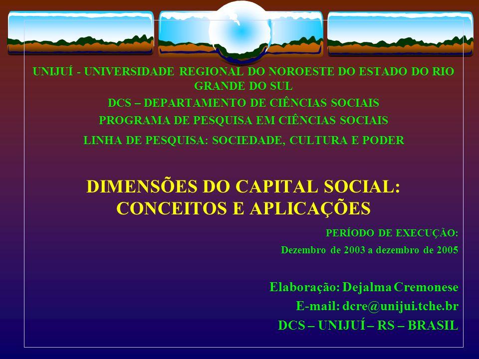 DIMENSÕES DO CAPITAL SOCIAL: CONCEITOS E APLICAÇÕES