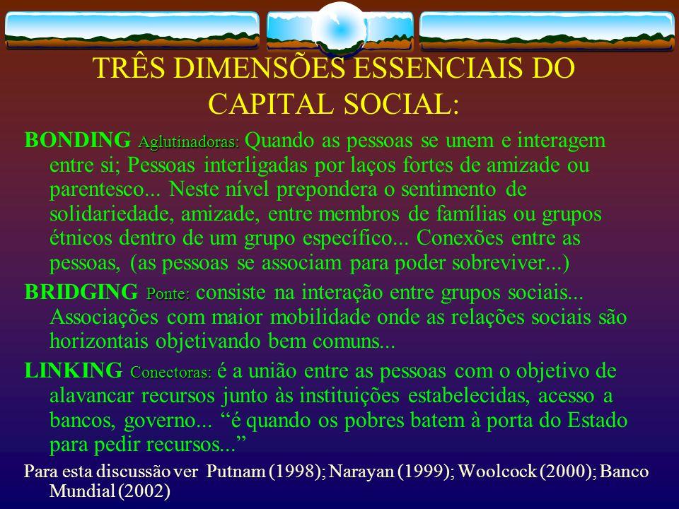 TRÊS DIMENSÕES ESSENCIAIS DO CAPITAL SOCIAL: