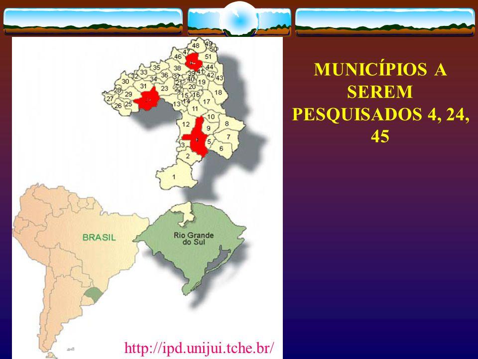 MUNICÍPIOS A SEREM PESQUISADOS 4, 24, 45