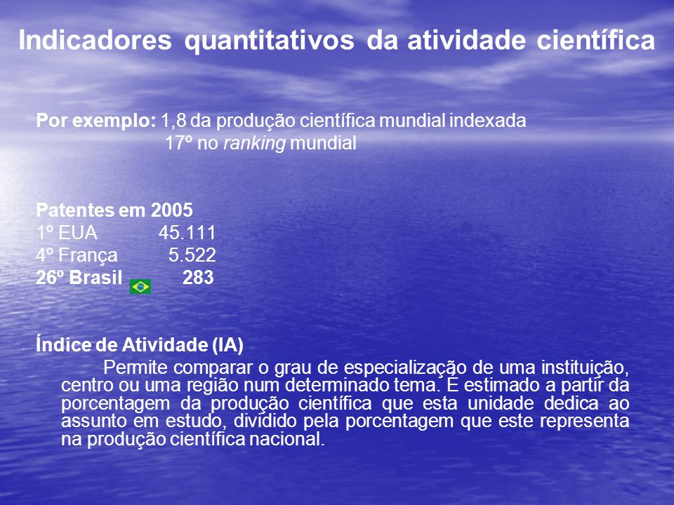 Indicadores quantitativos da atividade científica
