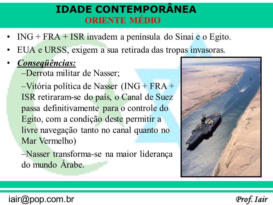 ING + FRA + ISR invadem a península do Sinai e o Egito.