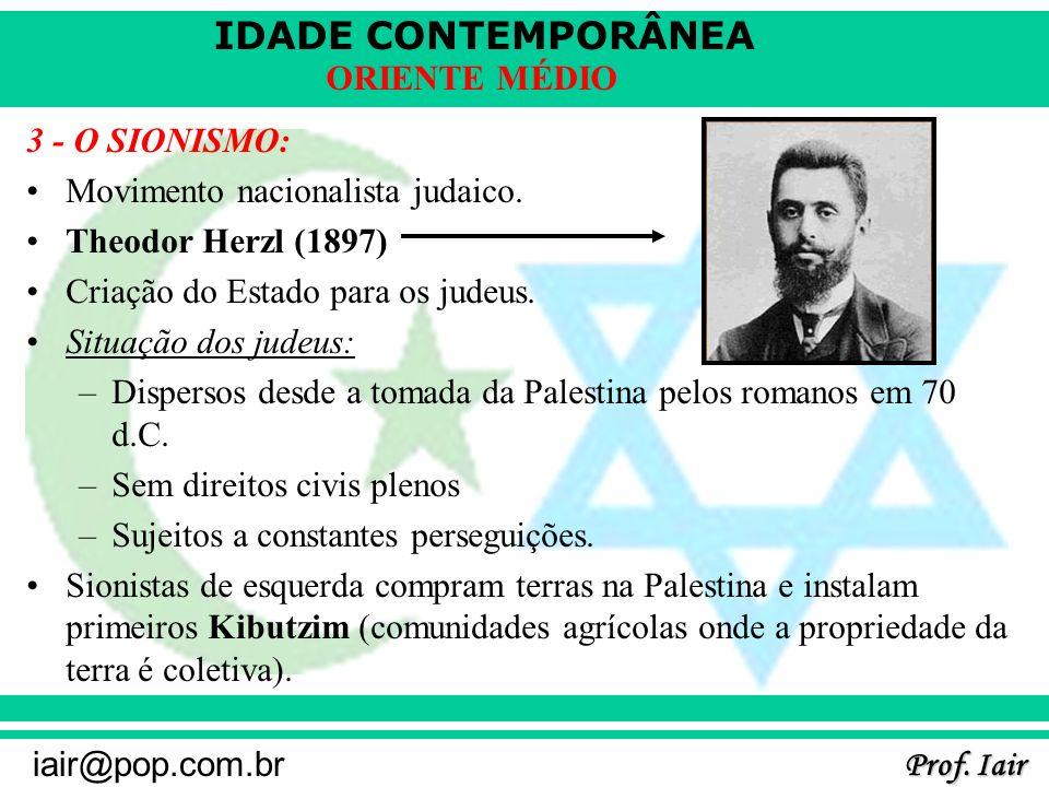 3 - O SIONISMO: Movimento nacionalista judaico. Theodor Herzl (1897) Criação do Estado para os judeus.