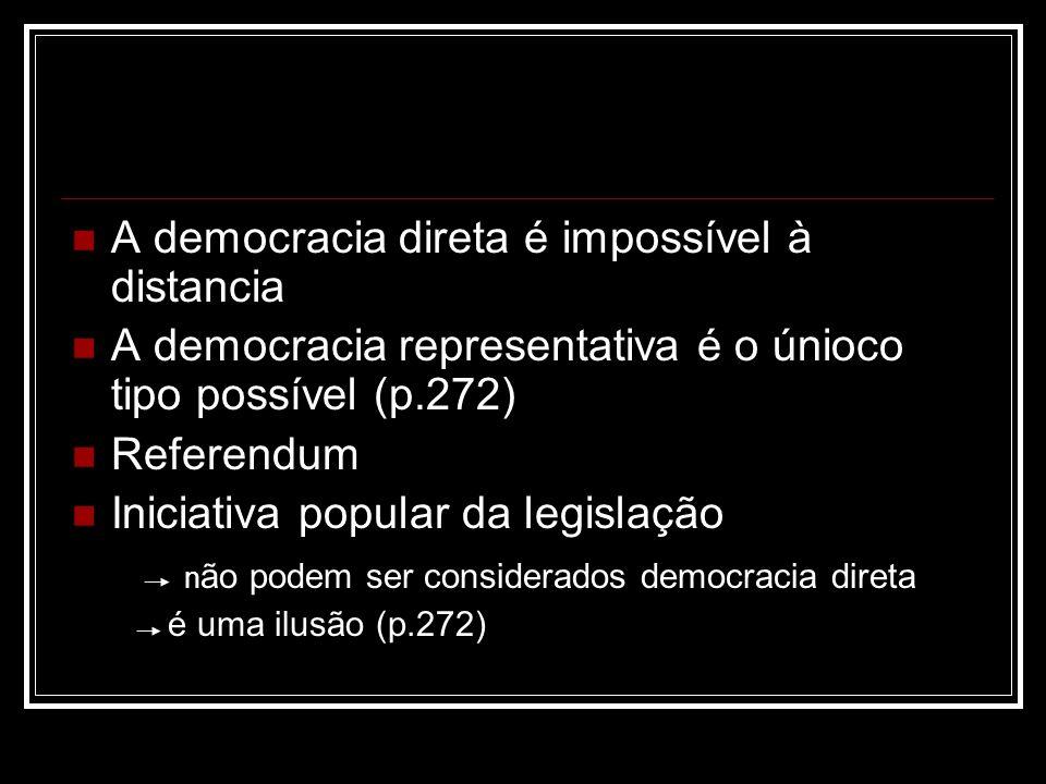 A democracia direta é impossível à distancia