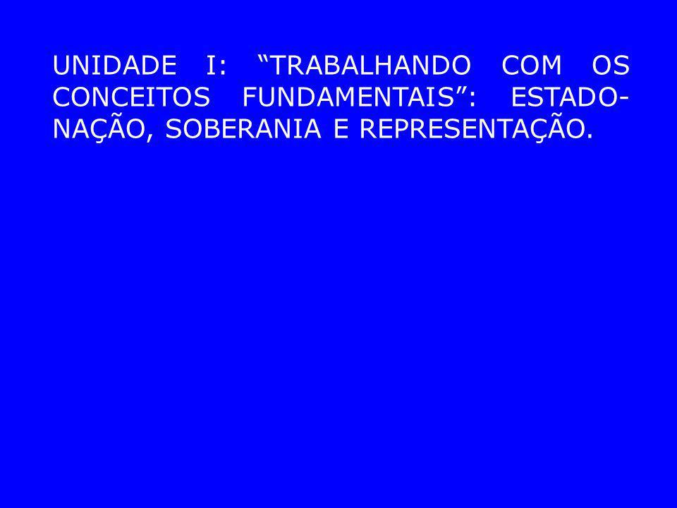 UNIDADE I: TRABALHANDO COM OS CONCEITOS FUNDAMENTAIS : ESTADO-NAÇÃO, SOBERANIA E REPRESENTAÇÃO.